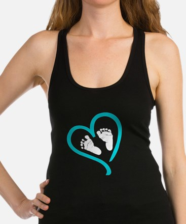 Baby Feet Heart Blue Racerback Tank Top