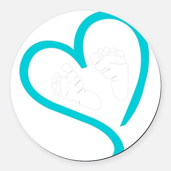 Baby Feet Heart Blue Round Car Magnet