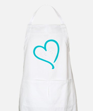 Baby Feet Heart Blue Apron