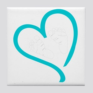 Baby Feet Heart Blue Tile Coaster