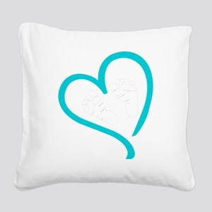 Baby Feet Heart Blue Square Canvas Pillow