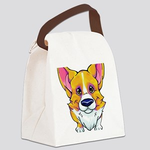 Red and White Corgi Canvas Lunch Bag