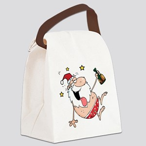 funny drunk santa claus Canvas Lunch Bag