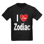 I Love Zodiac (Front) Kids Dark T-Shirt
