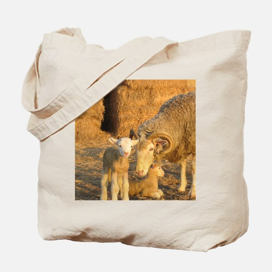 Horned Ewe with Twins Tote Bag