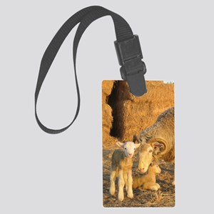 Horned Ewe with Twins Large Luggage Tag