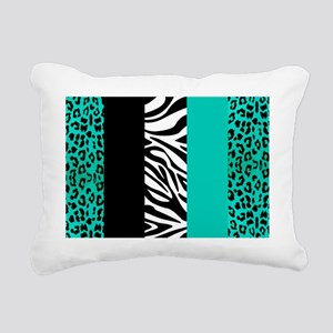 Teal Blue Animal Print S Rectangular Canvas Pillow
