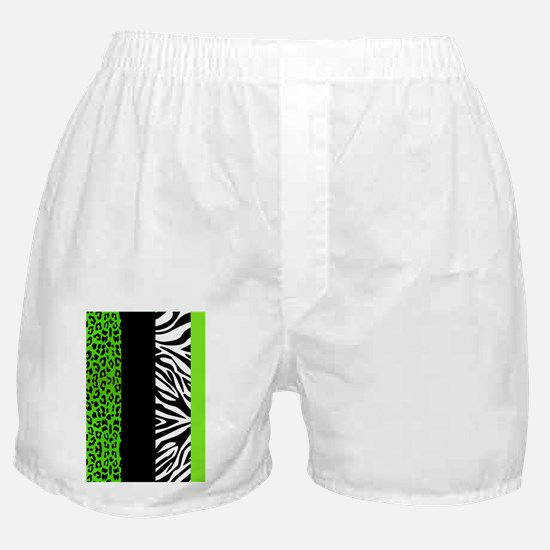 Lime Green Animal Print Stripes Zebra Boxer Shorts