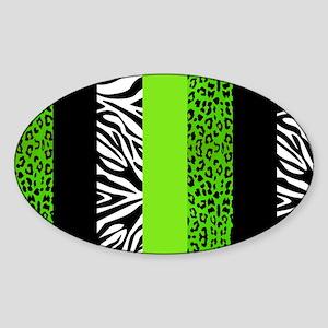 Lime Green Animal Print Stripes Zeb Sticker (Oval)