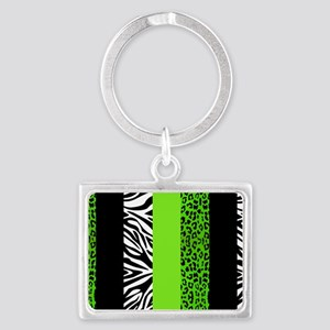Lime Green Animal Print Stripes Landscape Keychain