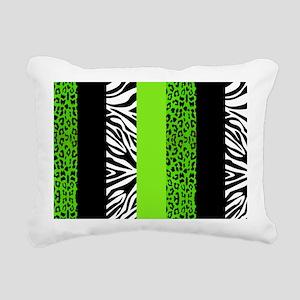 Lime Green Animal Print  Rectangular Canvas Pillow