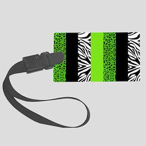 Lime Green Animal Print Stripes  Large Luggage Tag
