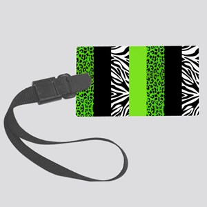 Lime Green Animal Print Stripes  Large Luggage Tag