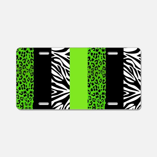 Lime Green Animal Print Str Aluminum License Plate