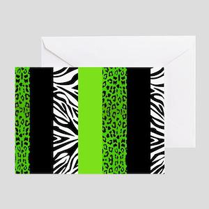 Lime Green Animal Print Stripes Zebr Greeting Card