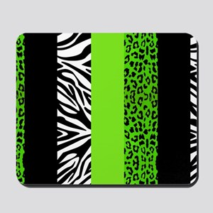 Lime Green Animal Print Stripes Zebra Le Mousepad