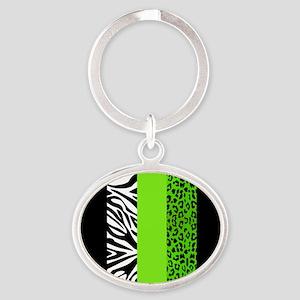 Lime Green Animal Print Stripes Zebr Oval Keychain