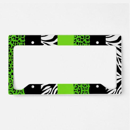 Lime Green Animal Print Strip License Plate Holder