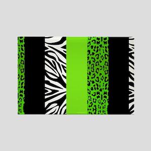 Lime Green Animal Print Stripes Z Rectangle Magnet