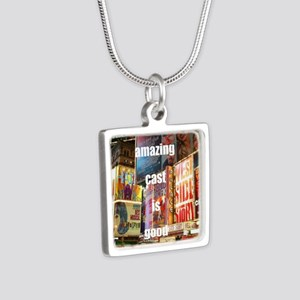 An amazing cast is good co Silver Square Necklace