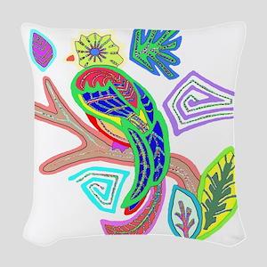 FANCY FEATHERS BIRD Woven Throw Pillow