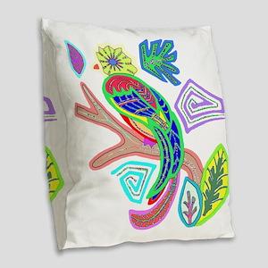 FANCY FEATHERS BIRD Burlap Throw Pillow