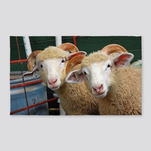 Inquisitive ewe lambs Large 3'x5' Area Rug