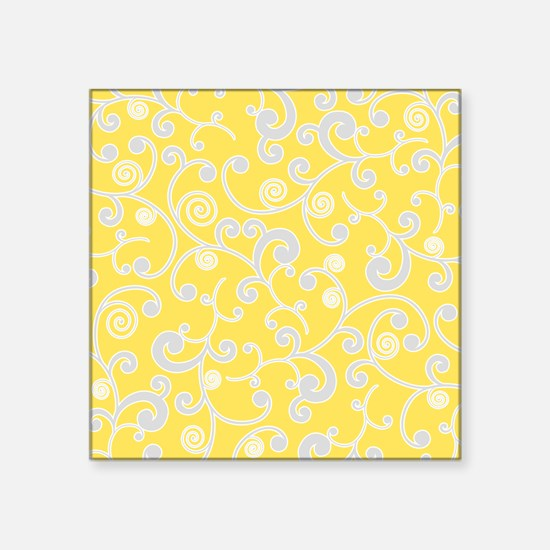 "Elegant Yellow and Gray Scr Square Sticker 3"" x 3"""