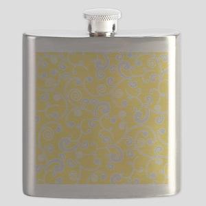 Elegant Yellow and Gray Scroll Pattern Flask