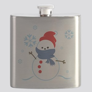 cute snowman with scarf and hat Flask