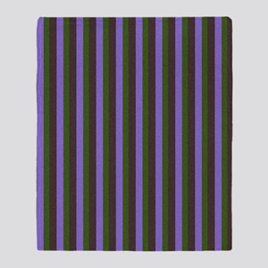 Purple and Green Stripes 1 Throw Blanket