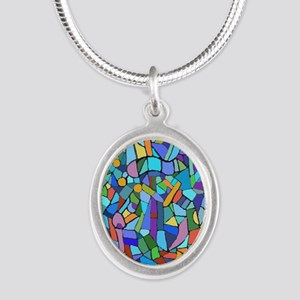 Blue abstract mosaic Silver Oval Necklace