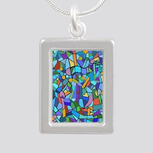 Blue abstract mosaic Silver Portrait Necklace