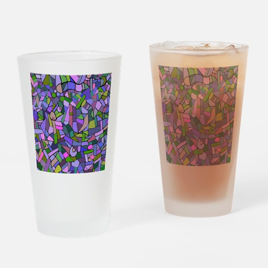 Purple abstract mosaic Drinking Glass