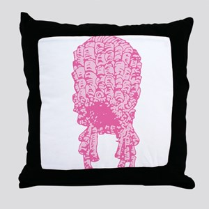 Pink Wig Graphic Throw Pillow