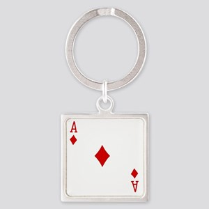 Ace of Diamonds Square Keychain