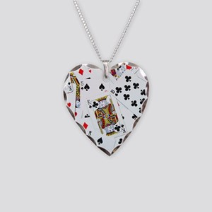 Spread out game cards Necklace Heart Charm