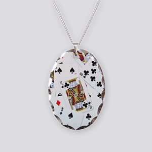 Spread out game cards Necklace Oval Charm