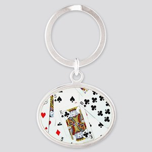 Spread out game cards Oval Keychain