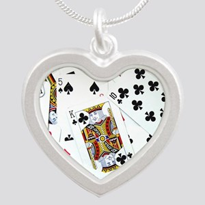 Spread out game cards Silver Heart Necklace