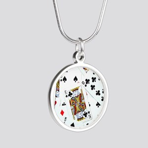 Spread out game cards Silver Round Necklace