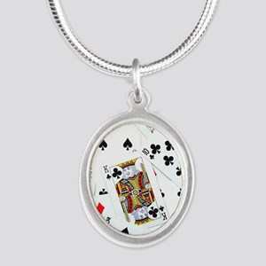 Spread out game cards Silver Oval Necklace