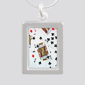 Spread out game cards Silver Portrait Necklace