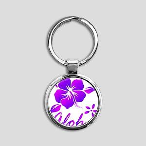 Aloha Purple Round Keychain