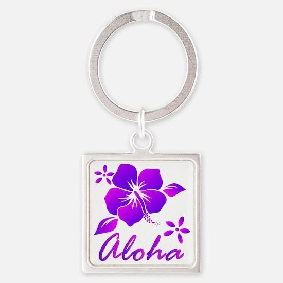Aloha Purple Square Keychain