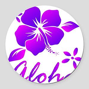 Aloha Purple Round Car Magnet