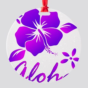 Aloha Purple Round Ornament