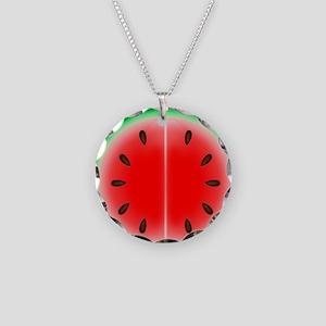 Watermelon Slice Necklace Circle Charm