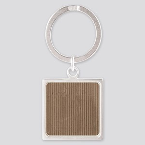Brown corrugated cardboard graphic Square Keychain