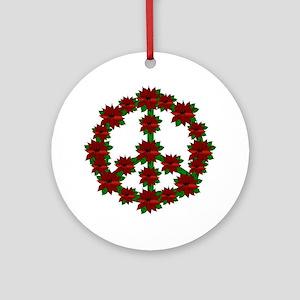 Poinsettia Peace Sign Round Ornament